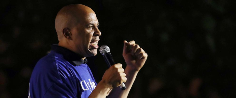 PHOTO: Democratic presidential candidate Sen. Cory Booker speaks at Rep. Jim Clyburns World Famous Fish Fry on June 21, 2019 in Columbia, S.C.