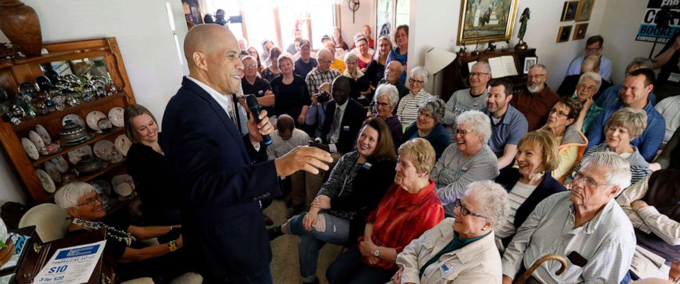 PHOTO: Democratic presidential candidate Sen. Cory Booker speaks during a house party, May 24, 2019, in Newton, Iowa.