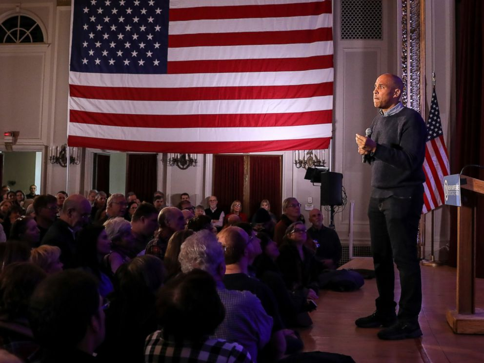PHOTO: U.S. Sen. Cory Booker, D-N.J., pauses while sharing a personal story while speaking at a post-midterm election victory celebration in Manchester, N.H., on Sunday, Dec. 8, 2018.