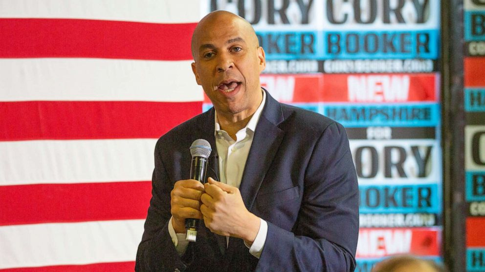 Cory Booker addresses voters at a campaign stop in Lebanon, N.H., March 15, 2019.