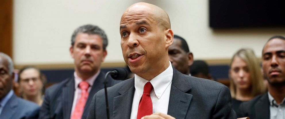 PHOTO: Sen. Cory Booker testifies about reparation for the descendants of slaves during a hearing before the House Judiciary Subcommittee on the Constitution, Civil Rights and Civil Liberties, at the Capitol in Washington, June 19, 2019.