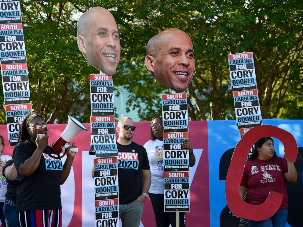 PHOTO: Supporters of New Jersey Sen. Cory Booker rally for the Democratic presidential hopeful ahead of Majority Whip Jim Clyburns World Famous Fish Fry on Friday, June 21, 2019, in Columbia, S.C.