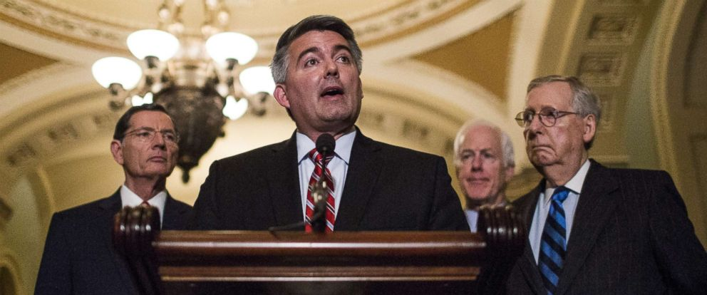 PHOTO: Cory Gardner speaks during a news conference following weekly policy luncheons on Capitol Hill, April 10, 2018, in Washington.