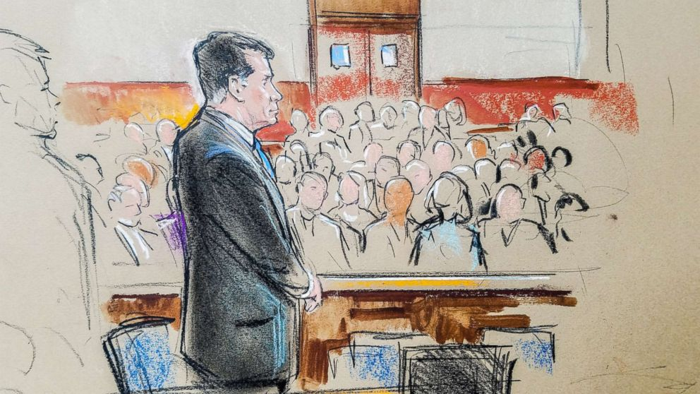 PHOTO: Former Trump campaign manager Paul Manafort stands in a court room sketch, on the opening day of his trial on charges stemming from Special Counsel Robert Muellers investigation in Alexandria, Va., on July 31, 2018.