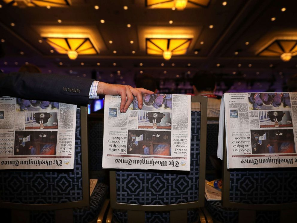 PHOTO: Newspapers are used as place-holders for people arriving early at the Conservative Political Action Conference at the Gaylord National Resort and Convention Center Feb. 23, 2018 in National Harbor, Md.
