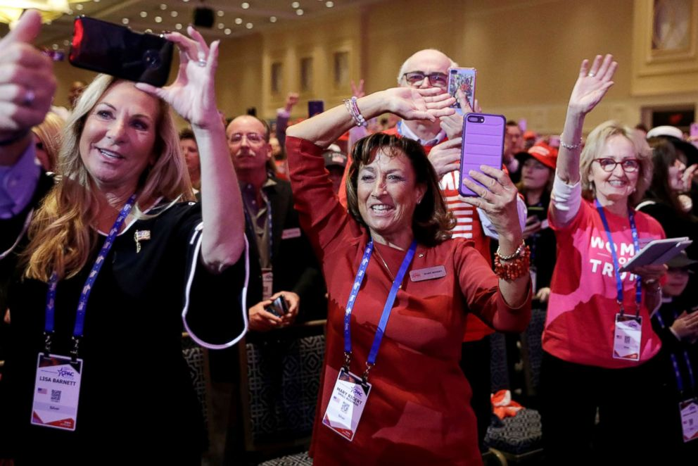 PHOTO: People cheer as President Donald Trump speaks at the Conservative Political Action Conference (CPAC) annual meeting at National Harbor near Washington, D.C., March 2, 2019.