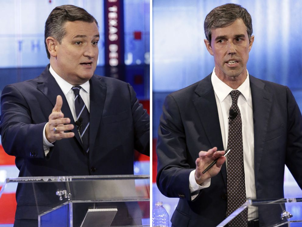 Sen. Ted Cruz debates Rep. Beto O'Rourke in a televised debate on Oct. 16, 2018 in San Antonio.