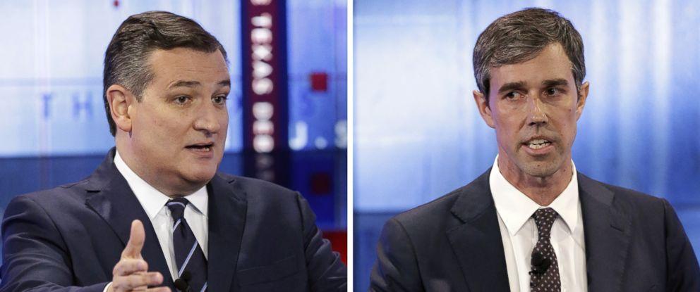 PHOTO: Sen. Ted Cruz debates Rep. Beto ORourke in a televised debate on Oct. 16, 2018 in San Antonio.