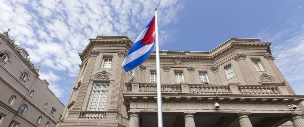 PHOTO: The Cuban Flag is raised over the newly re-opened Cuban Embassy for the first time since the United States severed diplomatic relations in 1961 in Washington, July 20, 2015.