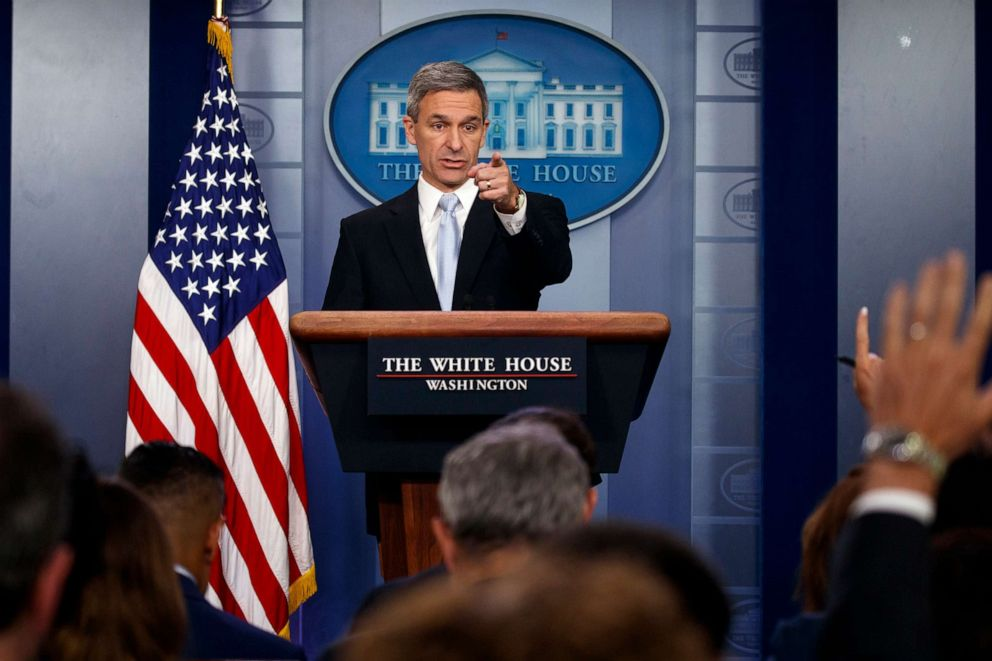 PHOTO: Acting Director of United States Citizenship and Immigration Services Ken Cuccinelli speaks during a briefing at the White House, Aug. 12, 2019, in Washington.