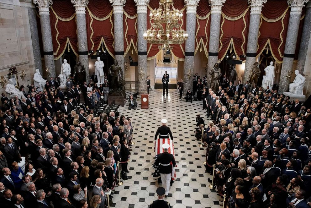 PHOTO: The flag-draped casket of late Maryland Rep. Elijah Cummings is carried through the Capitol during a memorial service in Washington, D.C., Oct. 24, 2019.