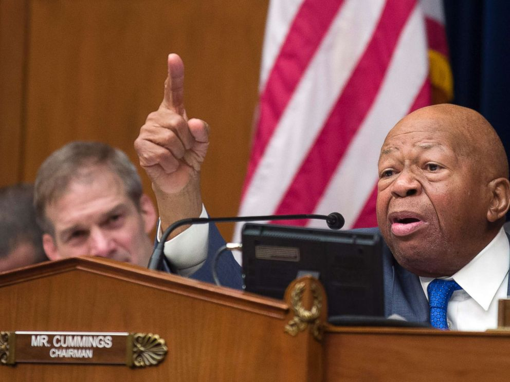 PHOTO: House Oversight and Reform Committee Chair Elijah Cummings gives closing remarks as Rep. Jim Jordan, left, listens, following the testimony of Michael Cohen, at the House Oversight and Reform Committee on Capitol Hill, Feb. 27, 2019.
