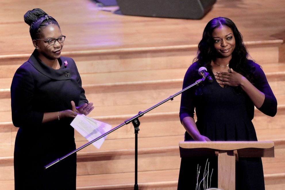 PHOTO: Adia Cummings, right, daughter of late Rep. Elijah Cummings, speaks next to her sister Jennifer Cummings, during their fathers funeral services at the New Psalmist Baptist Church in Baltimore, Oct. 25, 2019.