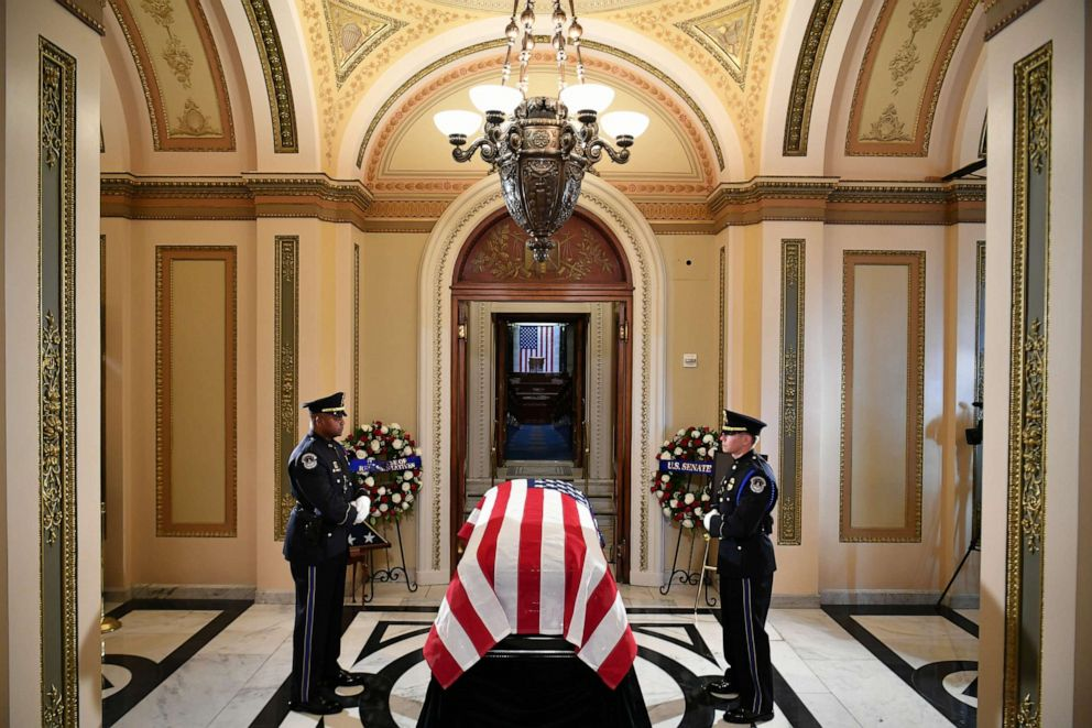 PHOTO: The flag-draped casket of Rep. Elijah Cummings is prepared to lie in state during a memorial service at the Statuary Hall of the U.S. Capitol, Oct. 24, 2019, in Washington, DC.