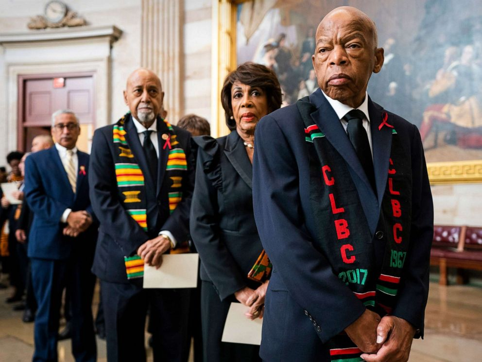 PHOTO: Rep. John Lewis, right, joins other members of the Congressional Black Caucus to await the casket of late Democratic Representative from Maryland Elijah Cummings in the Rotunda of the U.S. Capitol in Washington, D.C., Oct. 24, 2019.