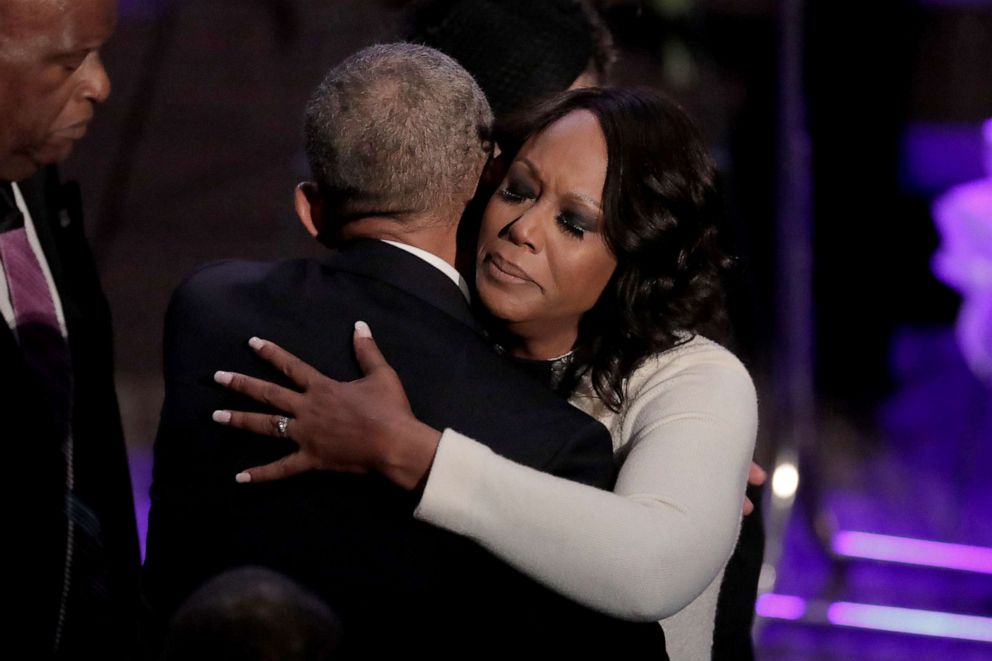 PHOTO: Maya Rockeymoore Cummings is greeted by former President Barack Obama during funeral services for her late husband, Rep. Elijah Cummings, at the New Psalmist Baptist Church, Oct. 25, 2019 in Baltimore.