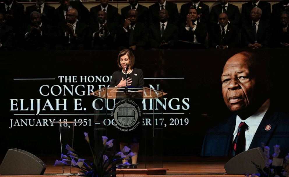 PHOTO: House Speaker Nancy Pelosi speaks during funeral services for the late Rep. Elijah Cummings at the New Psalmist Baptist Church in Baltimore, Oct. 25, 2019.