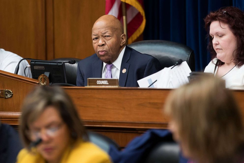 PHOTO:House Oversight and Reform Committee Chairman Elijah Cummings (C) oversees the committees markup on a resolution Authorizing Issuance of Subpoena Related to Security Clearances, on Capitol Hill, April 2, 2019.