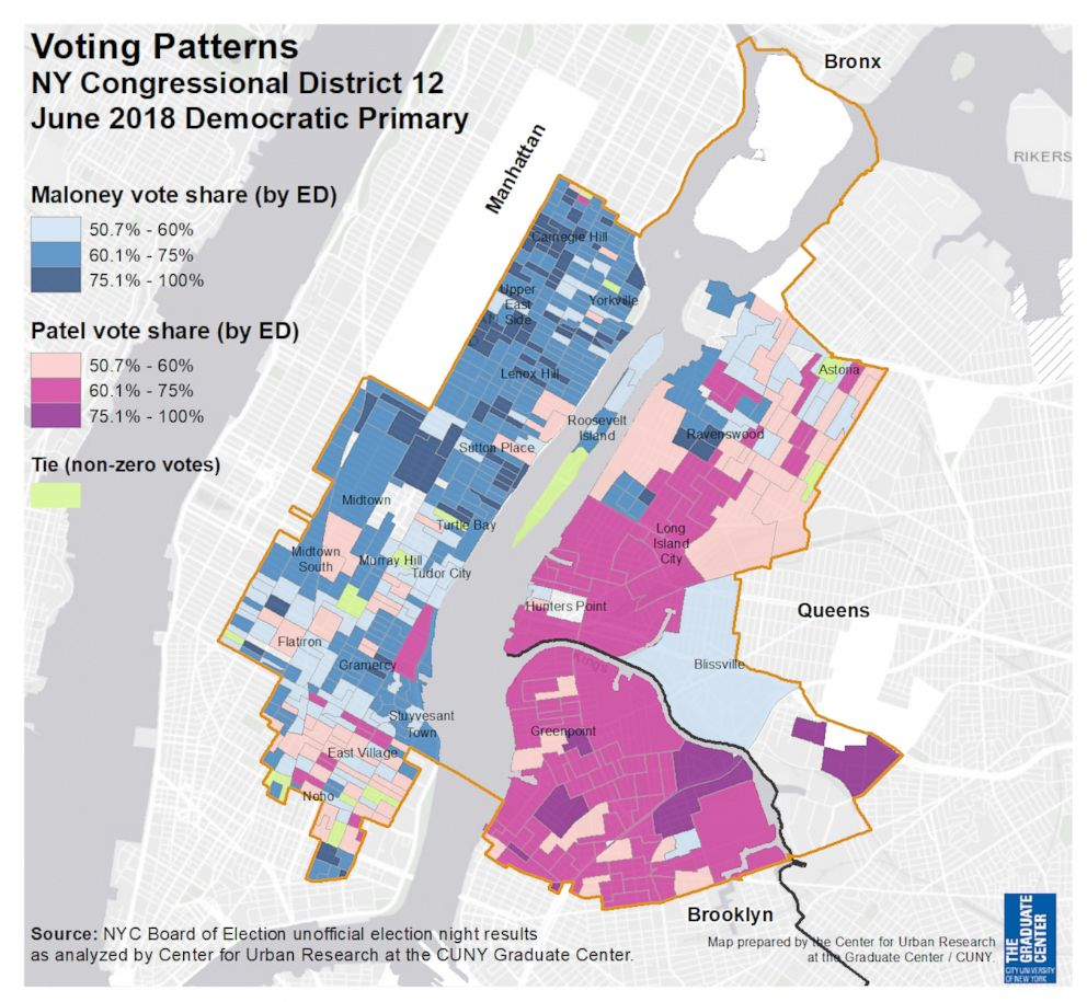 PHOTO: Maps produced by the City University of New York show results from the June 26, 2018 primaries in New York.