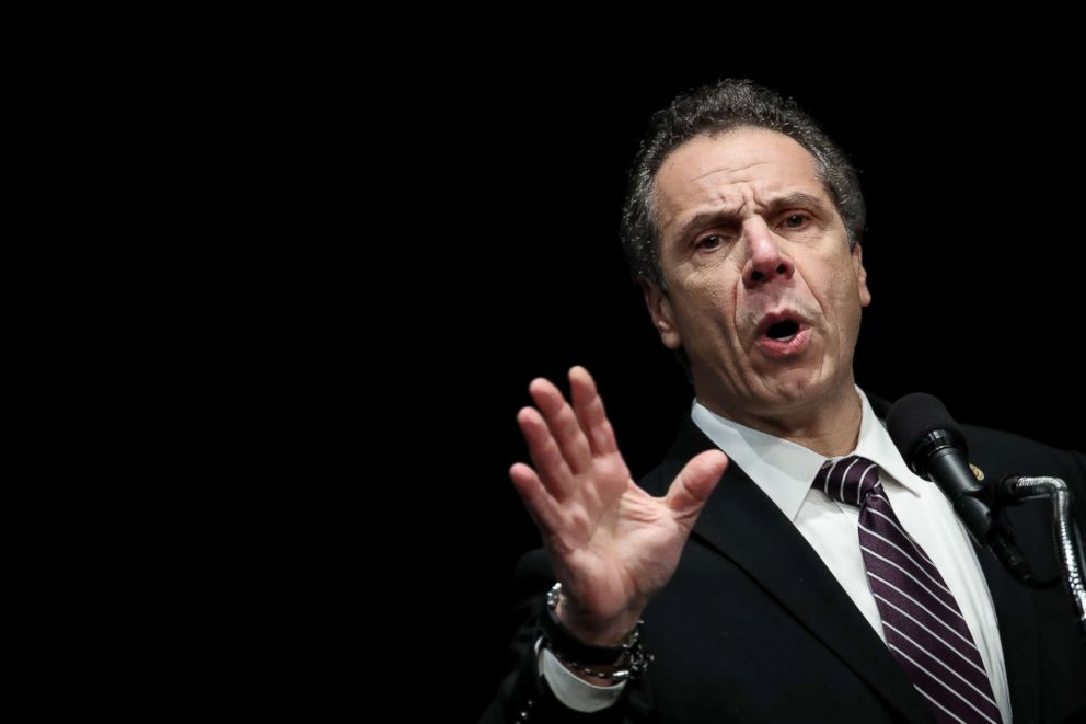 PHOTO: New York Governor Andrew Cuomo speaks at a healthcare union rally at the Theater at Madison Square Garden, Feb. 21, 2018, in New York.