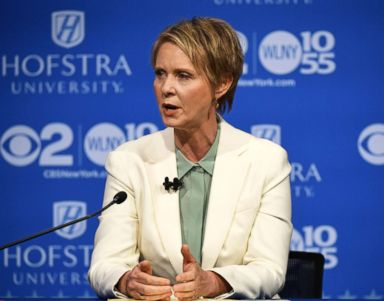 PHOTO: Cynthia Nixon speaks at the Democratic gubernatorial primary debate, Aug. 29, 2018, at Hofstra University in Hempstead, N.Y.