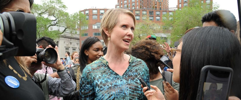 PHOTO: Gubernatorial candidate for New York, Cynthia Nixon, addresses the Cannabis Rally in Union Square in Manhattan where she stated her affirmative position on the legalization of marijuana, May 5, 2018, in New York City.