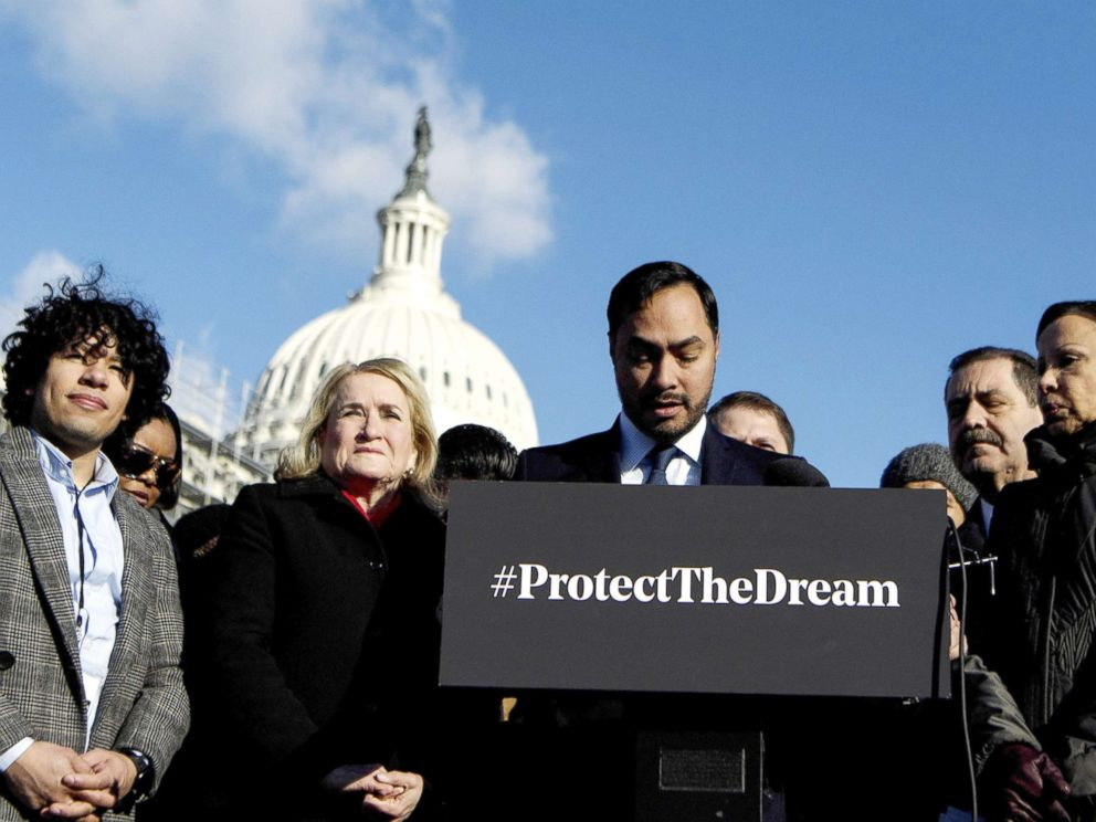 PHOTO: Chairman of the Congressional Hispanic Caucus Rep. Joaquin Castro participates in an event with DACA, TPS, and DED recipients on Capitol Hill, Washington, D.C., March 6, 2019