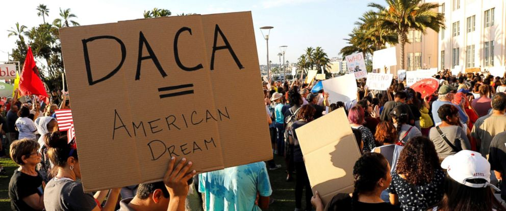 PHOTO:Alliance San Diego and other Pro-DACA supporters hold a protest rally in front of San Diego County Administration Center in San Diego, Calif., following President Donald Trumps DACA announcement,Sept. 5, 2017.