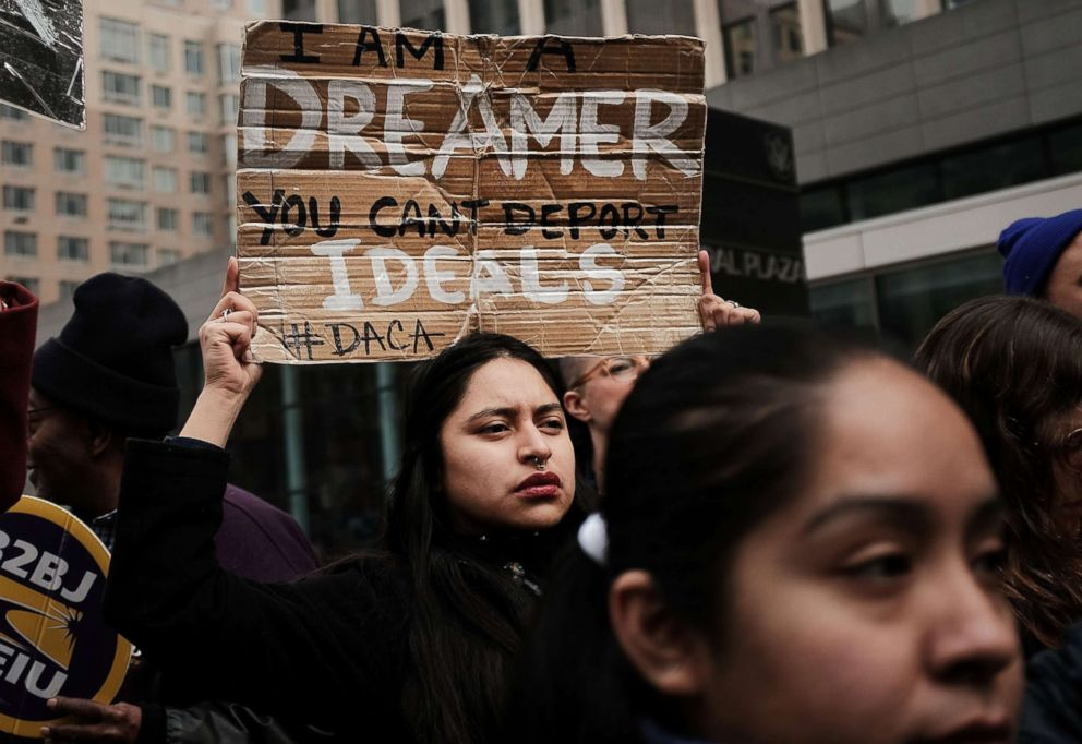 PHOTO: Demonstrators, many of them recent immigrants to America, protest the government shutdown and the lack of a deal on DACA outside of Federal Plaza on Jan. 22, 2018 in New York City.