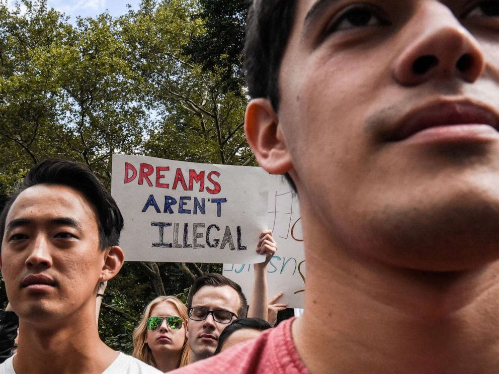 PHOTO: People participate in a protest in defense of the Deferred Action for Childhood Arrivals program or DACA in New York, Sept. 9, 2017.