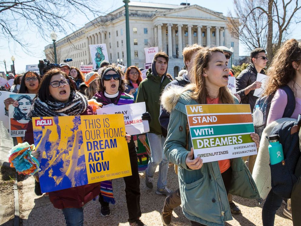 PHOTO: Deferred Action for Childhood Arrivals (DACA) recipients and other young immigrants march with supporters as they arrive at the Capitol in Washington D.C., on March 5, 2018.