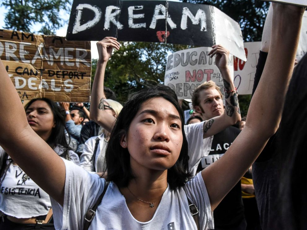 PHOTO: People participate in a protest in defense of the Deferred Action for Childhood Arrivals program or DACA in New York, NY, Sept. 9, 2017.