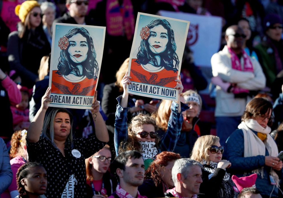 PHOTO: Supporters of Deferred Action for Childhood Arrivals (DACA) hold signs during the Womens March rally in Las Vegas, Jan. 21, 2018.
