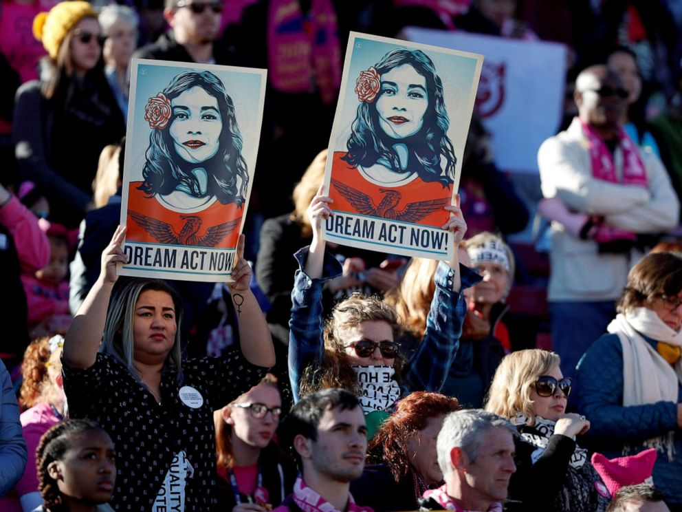 PHOTO: Supporters of Deferred Action for Childhood Arrivals hold signs during the Womens March rally in Las Vegas, Jan. 21, 2018.