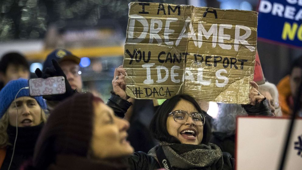 """Activists rally for the passage of a """"clean"""" Dream Act, one without additional security or enforcement measures, outside the New York office of Sen. Chuck Schumer, Jan. 10, 2018, in New York City."""