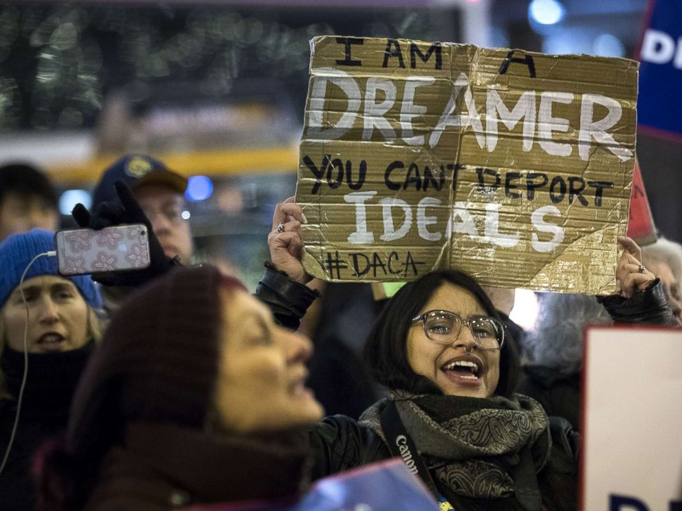 PHOTO: Activists rally for the passage of a clean Dream Act, one without additional security or enforcement measures, outside the New York office of Sen. Chuck Schumer, Jan. 10, 2018, in New York City.