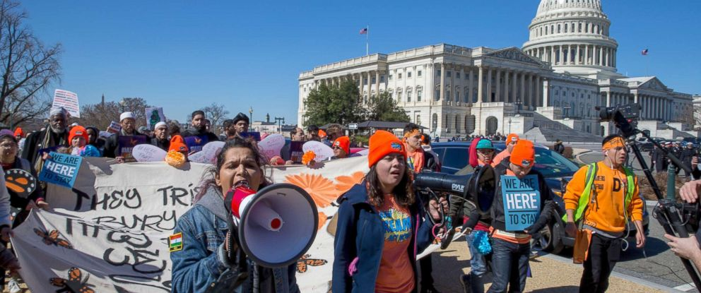 PHOTO: Pro DACA and Dreamer supporters march at the US Capital, March 5, 2018, in Washington.