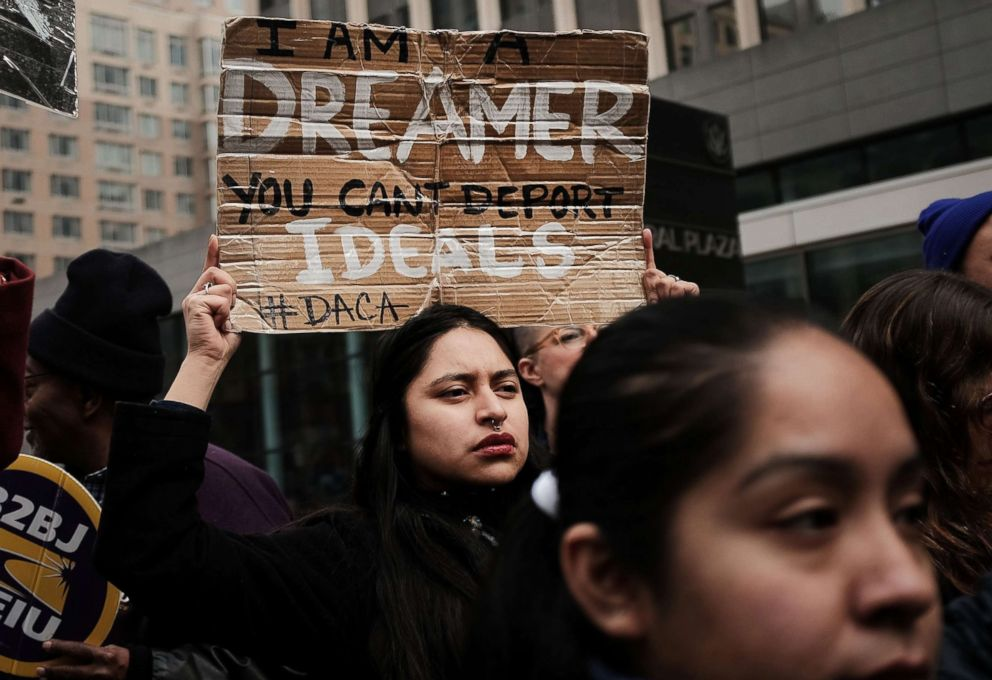 PHOTO: Demonstrators, many of them recent immigrants to America, protest the government shutdown and the lack of a deal on Deferred Action for Childhood Arrivals (DACA) outside of Federal Plaza, Jan. 22, 2018 in New York City.
