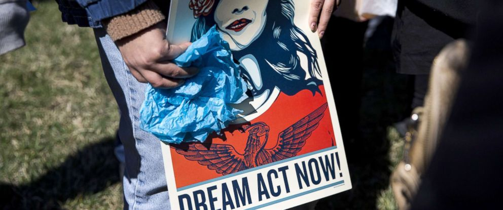 PHOTO: Demonstrators protest the end of the Deferred Action for Childhood Arrivals (DACA), outside of the Capitol in Washington, D.C., March 5, 2018.