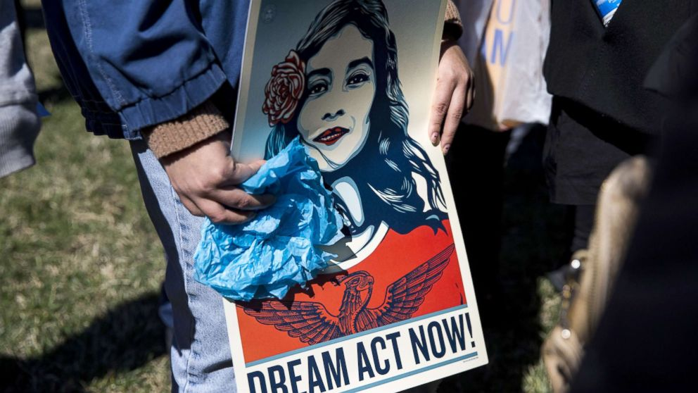 Demonstrators protest the end of the Deferred Action for Childhood Arrivals (DACA), outside of the Capitol in Washington, D.C., March 5, 2018.