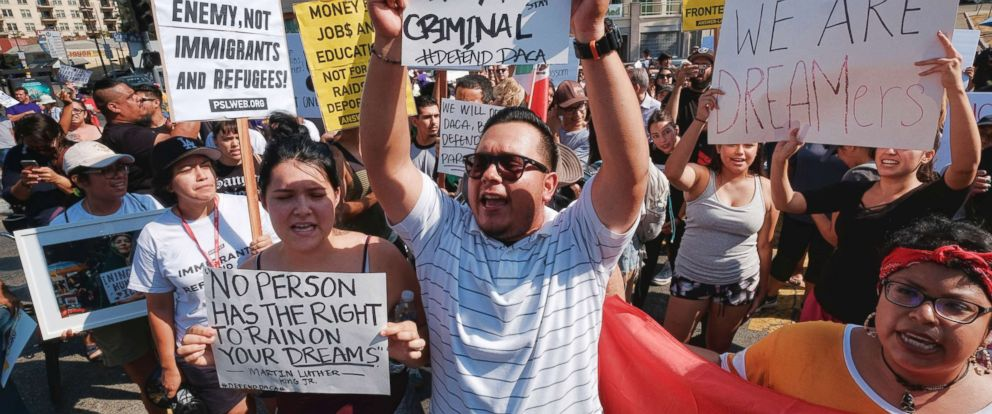 PHOTO: Protestors rally in support of the Deferred Action for Childhood Arrivals, or DACA, during a Labor Day rally in downtown Los Angeles, Sept. 4, 2017.