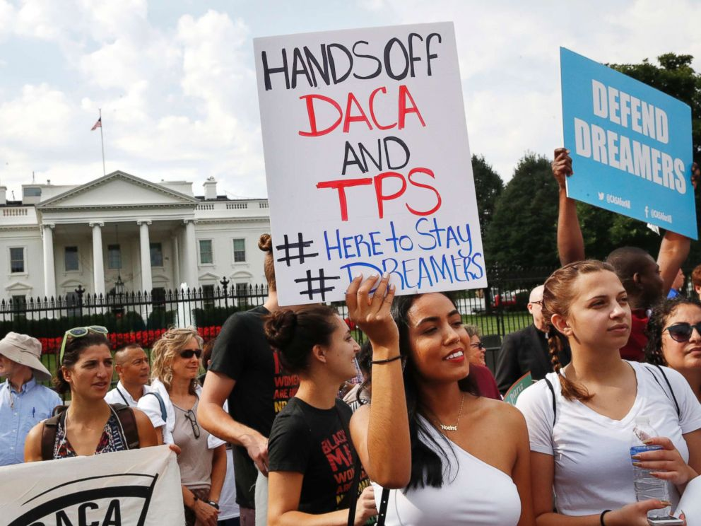 PHOTO: Yurexi Quinones, 24, of Manassas, Va., who is studying social work and a recipient of Deferred Action for Childhood Arrivals, known as DACA, rallies next to Ana Rice, 18, of Manassas, Va., in support of DACA, in Washington, Sept. 5, 2017.