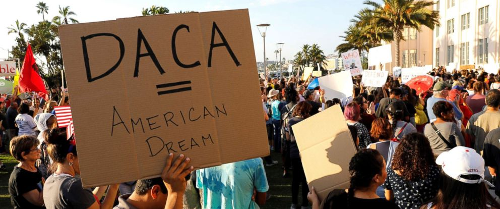 PHOTO: Alliance San Diego and other Pro-DACA supporters hold a protest rally, following U.S. President Donald Trumps DACA announcement, in front of San Diego County Administration Center in San Diego, Calif., Sept. 5, 2017.
