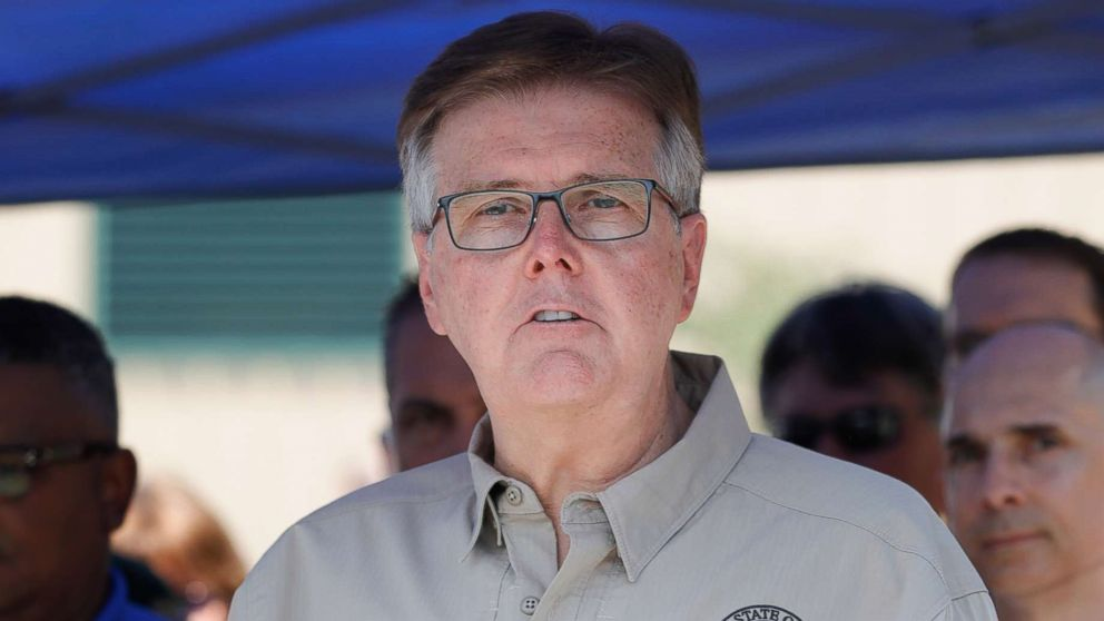 Texas Lt. Governor Dan Patrick speaks during a press conference about the shooting incident at Santa Fe High School, May 18, 2018 in Santa Fe, Texas.