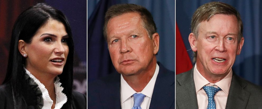 PHOTO: Pictured (L-R) are Dana Loesch, spokesperson for the National Rifle Association, Ohio Gov. John Kasich and Colorado Gov. John Hickenlooper.