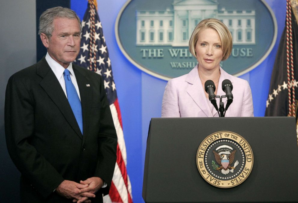 PHOTO: President George W. Bush listens as White House press secretary Dana Perino speaks, after current Tony Snow submitted his resignation, in the Brady Briefing Room at the White House, Aug. 31, 2007.