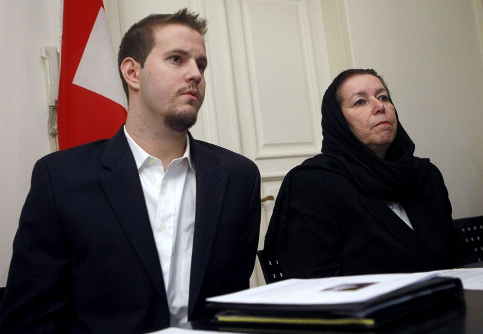 Christine Levinson, the wife of ex-FBI agent Robert Levinson, and her son Daniel hold a press conference at the Swiss embassy in Tehran, Dec. 22, 2007.