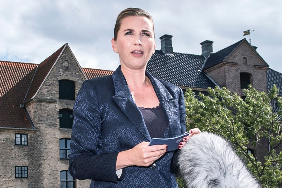 PHOTO: Denmarks Prime Minister Mette Frederiksen talks to the press after President Donald Trump cancelled his state visit after her government said its territory Greenland was not for sale, Aug. 21, 2019, in Copenhagen, Denmark.