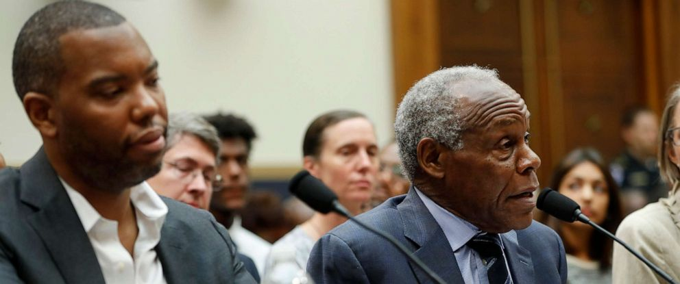 PHOTO: Danny Glover, right, and author Ta-Nehisi Coates, left, testify about reparation for the descendants of slaves during a hearing before the House Judiciary Subcommittee at the Capitol in Washington, June 19, 2019.