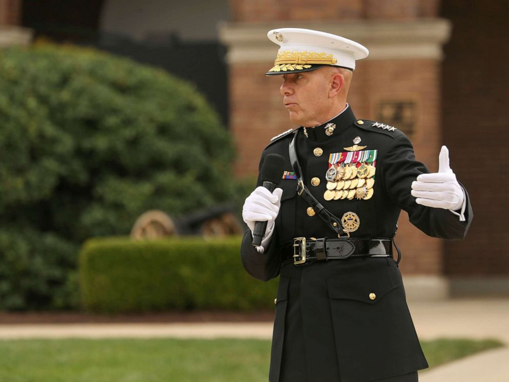 PHOTO:General David H. Berger, 38th Commandant of the Marine Corps, speaks to guests during a passage of command ceremony at Marine Barracks Washington, D.C., July 11, 2019.
